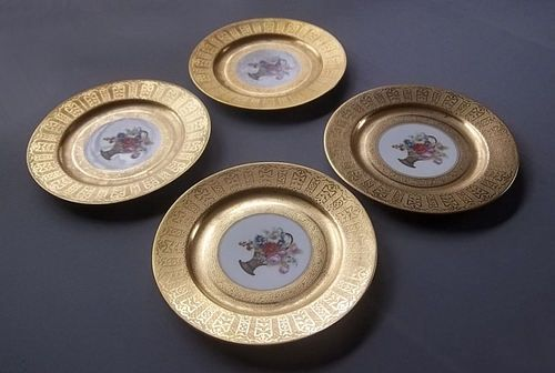 "4 Very Beautiful Vintage Heavy Gold Band Limoges 10 1 2"" Dinner Plates Floral"