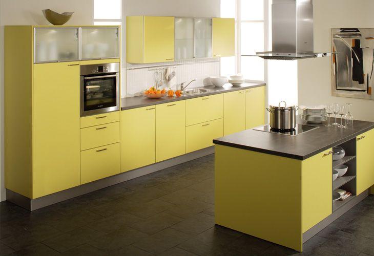 Küche in Gelb Kücheninsel www.dyk360kuechen.de (con