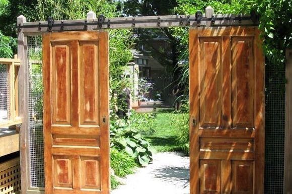 Barn Doors For Yard Acess Lot Easier Than Fondling With Sagging Gates Garden Gates Old Doors Garden Doors