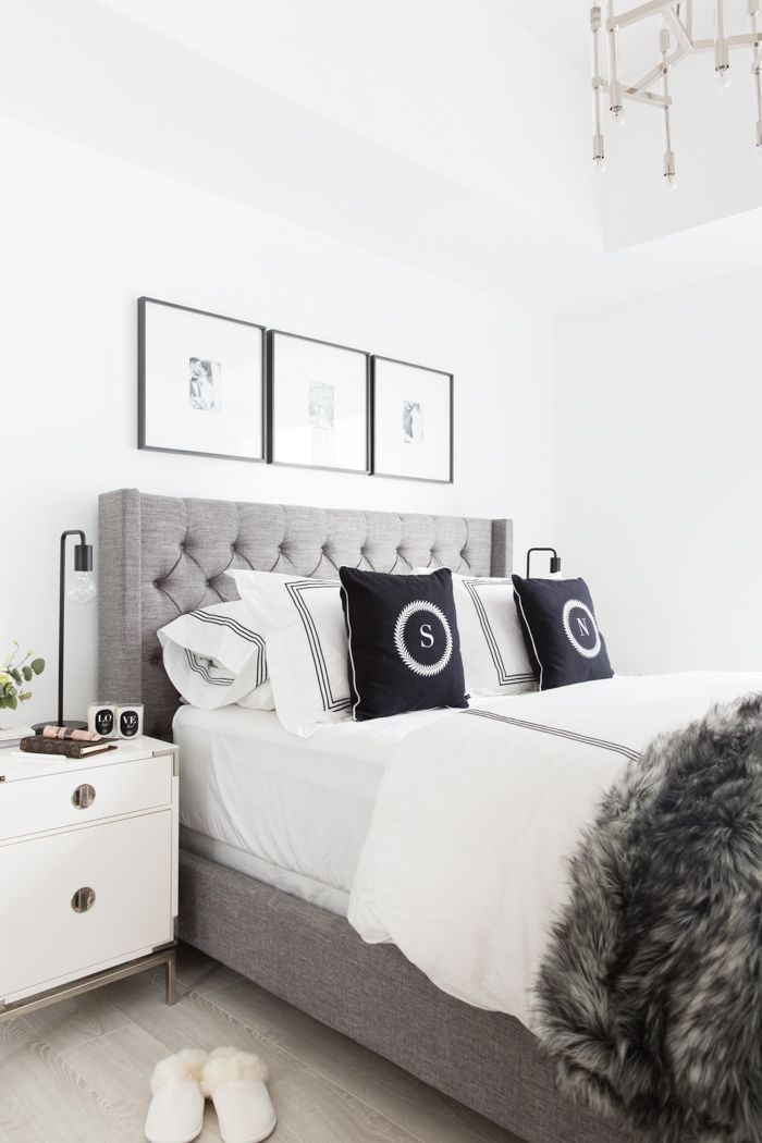 Grey Tufted Headboard. Light and bright bedroom. Home