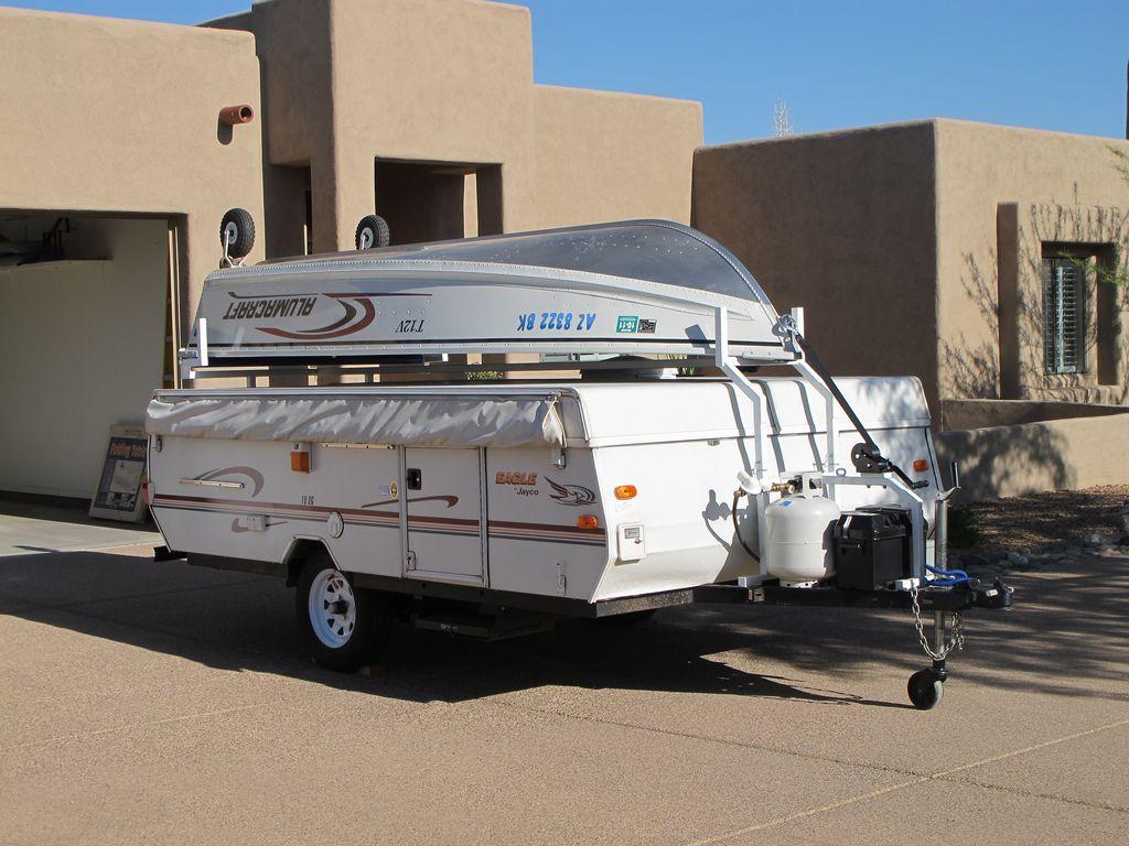 Popup Camper Boat Rack Modification For Those Who Like Boats Camper Boat Pop Up Tent Trailer Popup Camper