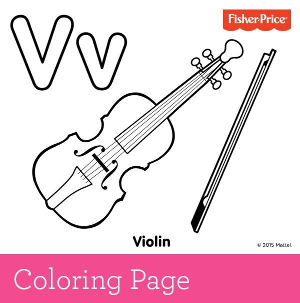 V Is For Violin Your Budding Musician Can Have A Little Fun Play Some Classical Music Whi Violin Preschool Coloring Pages Homeschool Preschool Activities