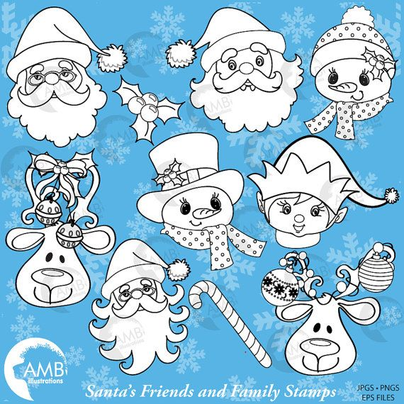 80OFF Christmas Digital Stamps Christmas Faces Stamps Christmas