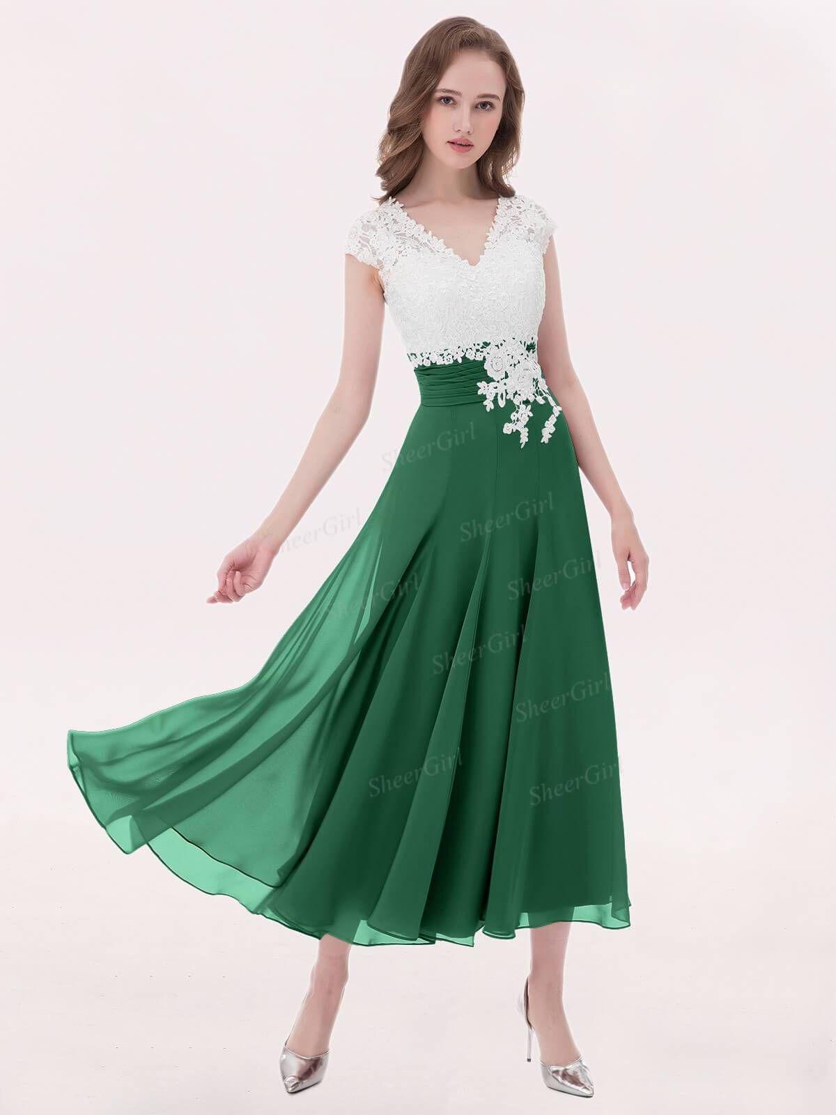 b651c30227 A-line V-neck Ivory Lace Applique Tea-length Bridesmaid Dresses Plus Size