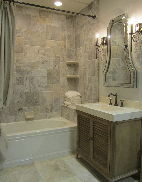 Bathrooms   Tile From The Tile Shop, Vanity From Ambella Home, Silver Travertine  Tile, Silver Travertine Tile Shower, Traditional Bathroom .