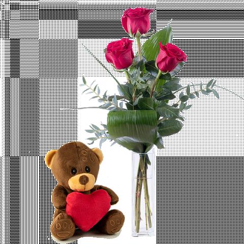 Tres Rosas Rojas Y Un Osito De Peluche Floraqueen Floraqueen Flores De Amor Osos De Peluche Peluches