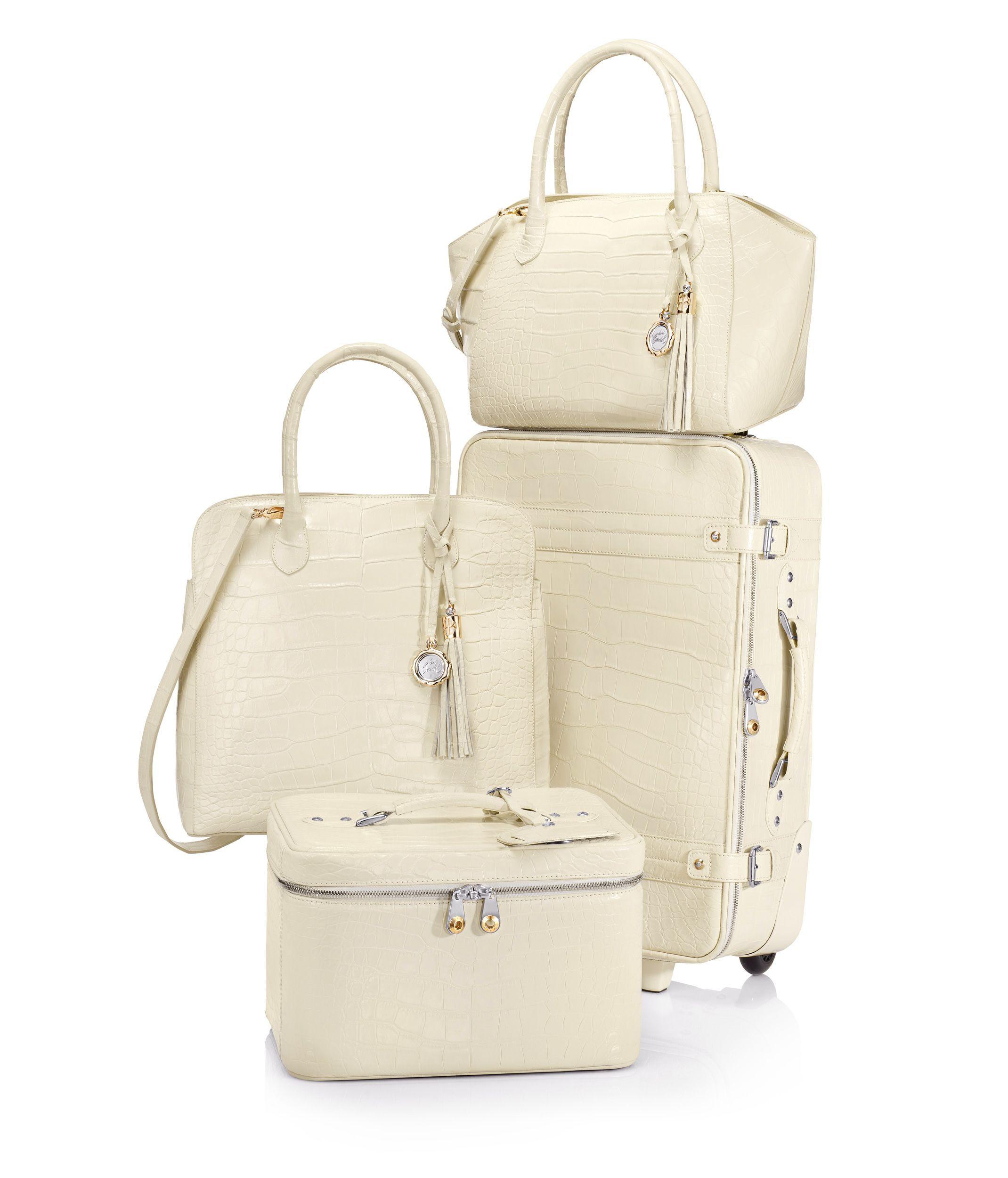 Luxe Alligator Train Case - Designer Luggage - Wheeled Luggage ...