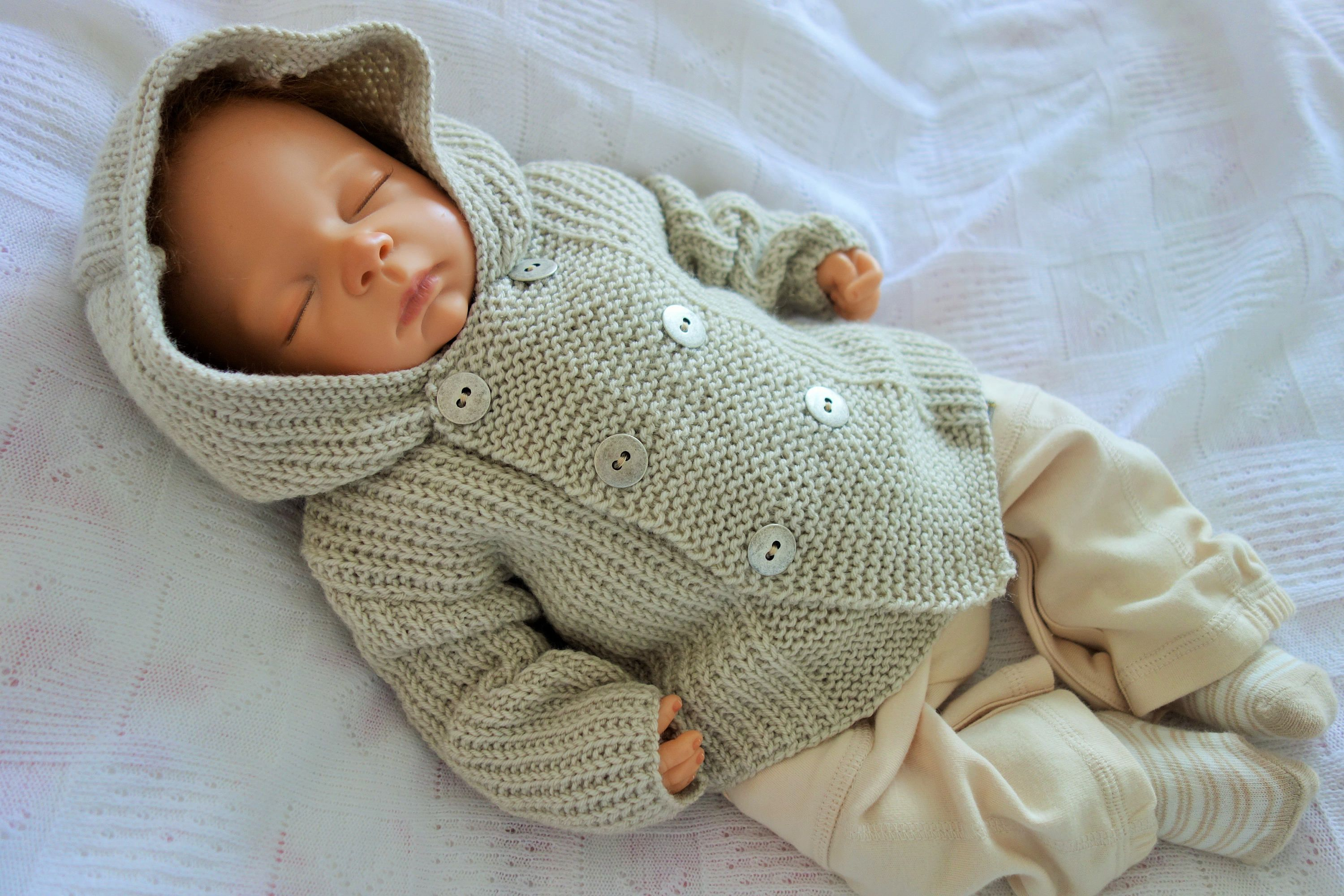5b577afae Baby s hand knitted hooded double breasted sweater cardigan in rib ...