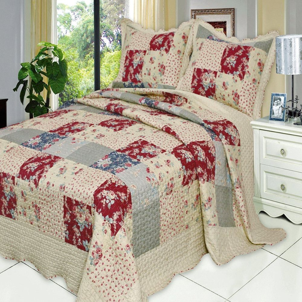French Country Floral Patchwork Quilt Coverlet Set