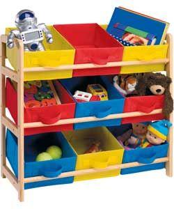 £21.99 3 Tier Toy Basket Storage Unit. Natural Wooden Frame With Storage  Bins In