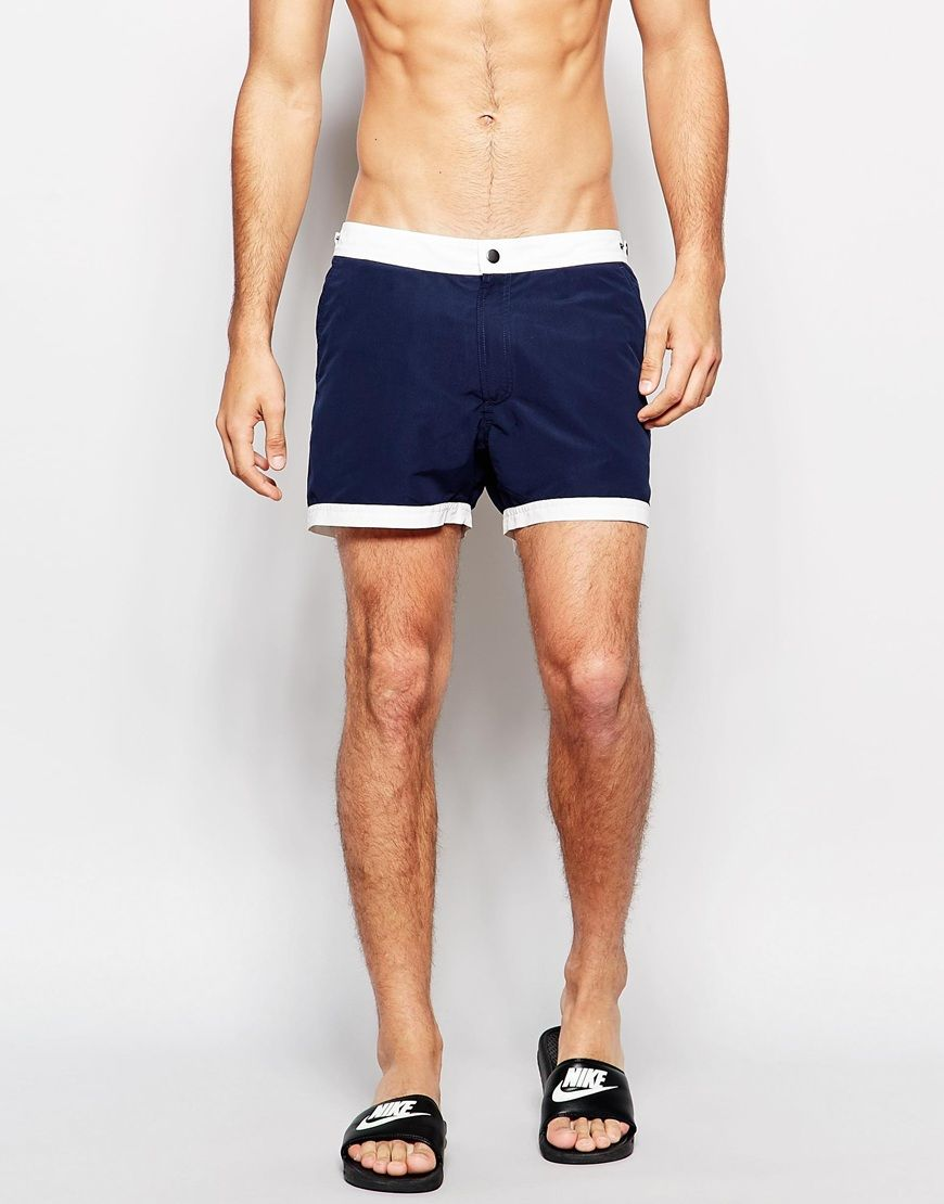 ASOS+Mid+Length+Swim+Shorts+In+Navy+With+