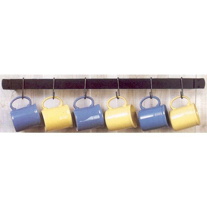 Horizontal Wall Mounted Mug Rack With 6 Hooks