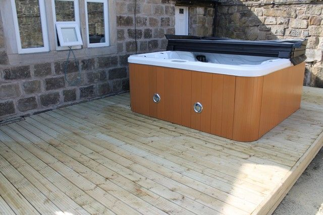 Hot Tub Installation In Sheffield Complete With Decking And Hidden