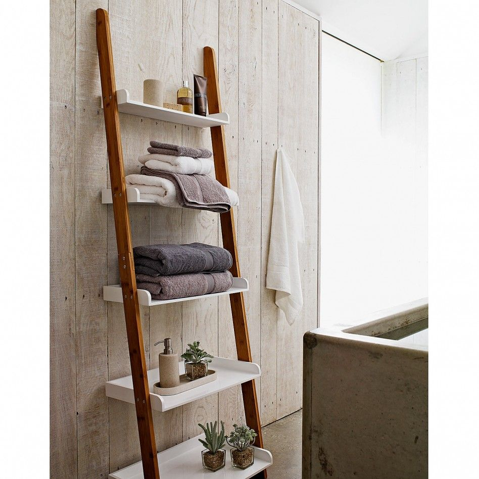 Bathroom, : DIY Wood Ladder For Bathroom Shelving Ideas Design Combined  With Wood Wall Bathroom