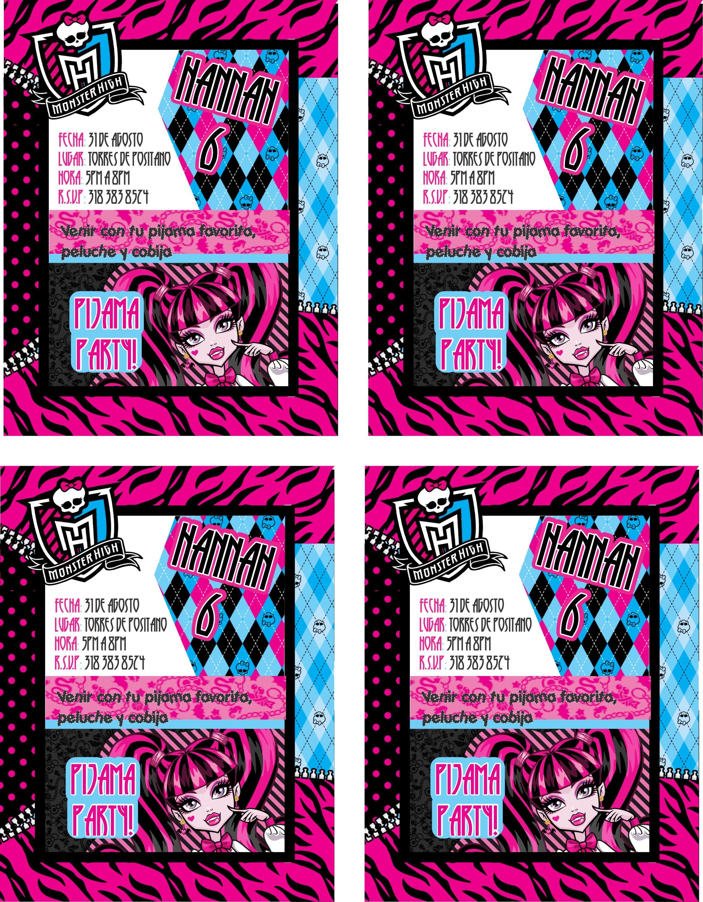 monster high invitaciones, cumple años, pijamada party | printables ...