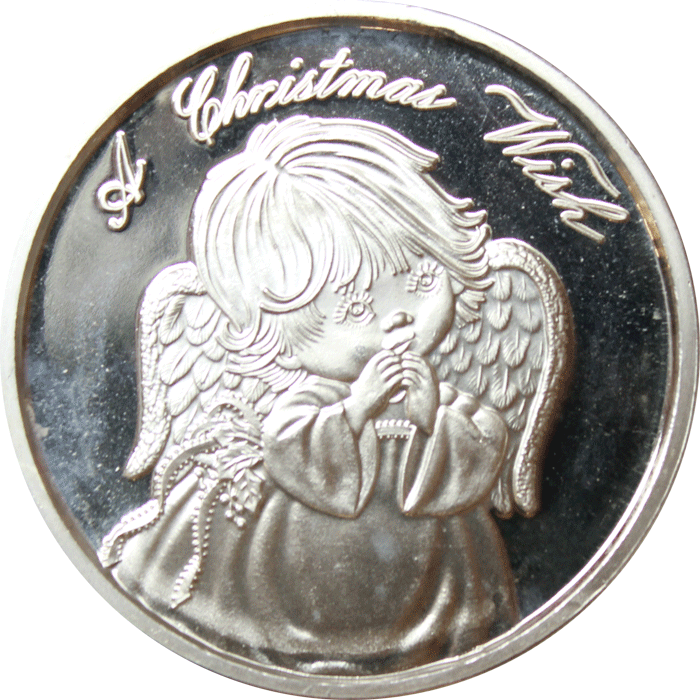 1999 A Christmas Wish 1 Oz Silver Art Round 999 Pure Http Www Gainesvillecoins Com Category 405 Silver R Silver Art Buy Gold And Silver Gold And Silver Coins