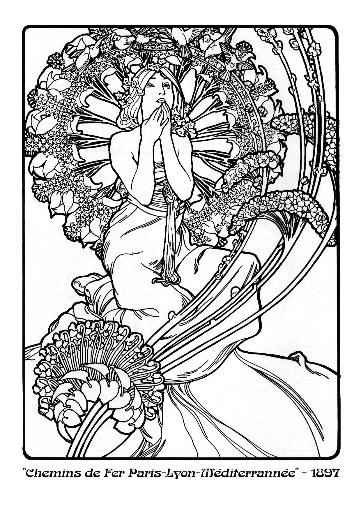 Cute Alphonse Mucha Coloring Pages