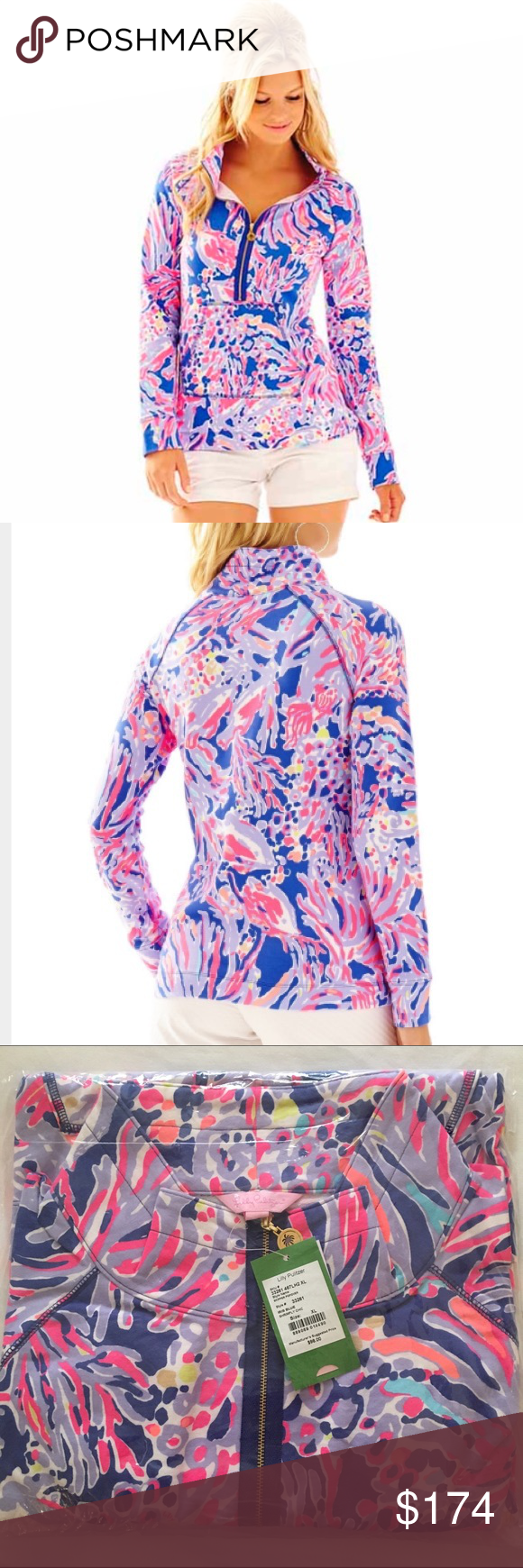 $1️⃣4️⃣5️⃣Lilly Pulitzer Shrimply Chic Popover XL Vibrant, fun, hard to find (especially in an XL), Lilly Pulitzer Shrimply Chic Popover Size XL NWT! This popover is straight from Lilly, never removed from the factory plastic or tried on! $145 shipped other places, and I will bundle there as well! No trades. Fast shipping! Thank you for looking! Lilly Pulitzer Tops Sweatshirts & Hoodies