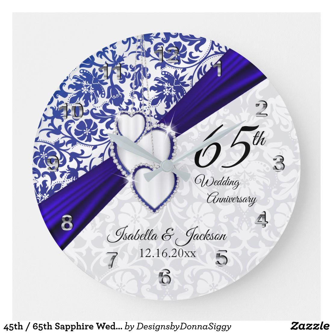 45th / 65th Sapphire Wedding Anniversary Large Clock