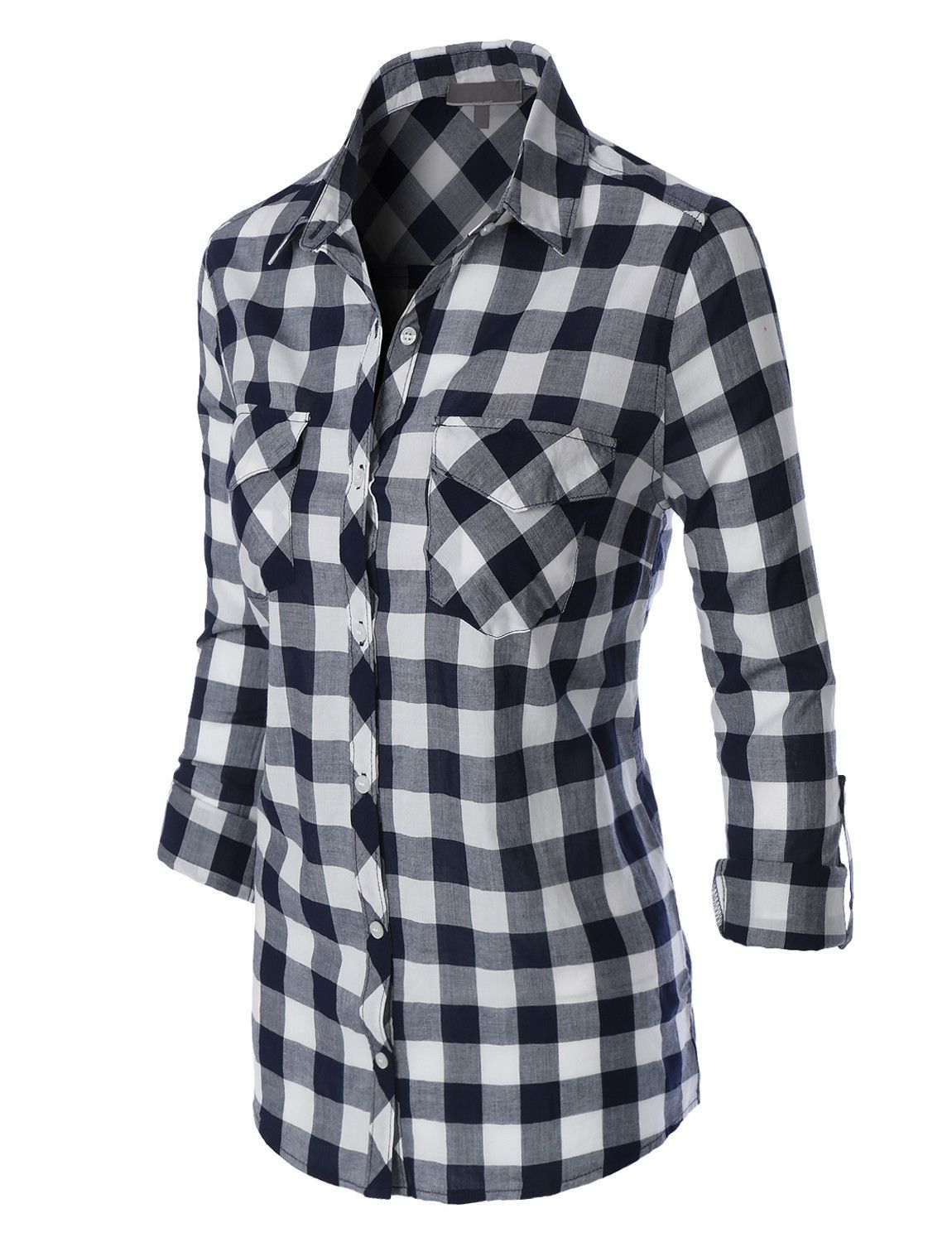 cba9fcbe LE3NO Womens Lightweight Plaid Button Down Shirt with Pockets ...