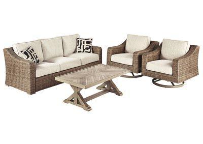 Beachcroft Beige 4 Piece Chat Set, /category/outdoor-4 ... on Beachcroft Beige Outdoor Living Room Set id=73406