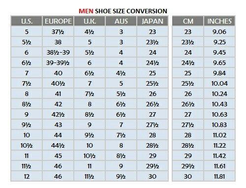 Shoe size conversion   Wide shoes for