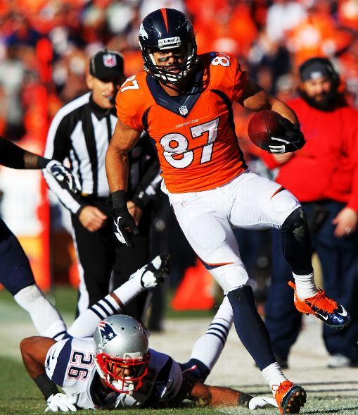 DENVER, CO - JANUARY 19: Eric Decker #87 of the Denver Broncos tries to avod the tackle of Logan Ryan #26 of the New England Patriots in the third quarter during the AFC Championship game at Sports Authority Field at Mile High on January 19, 2014 in Denver, Colorado. (Photo by Jamie Squire/Getty Images)