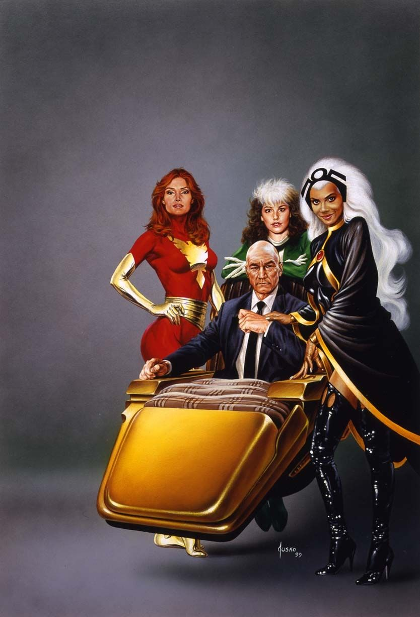 A combination of the actors who portrayed them, and what the characters originally look like. Dark Phoenix, Rogue, Professor X, and Storm. AWESOME.