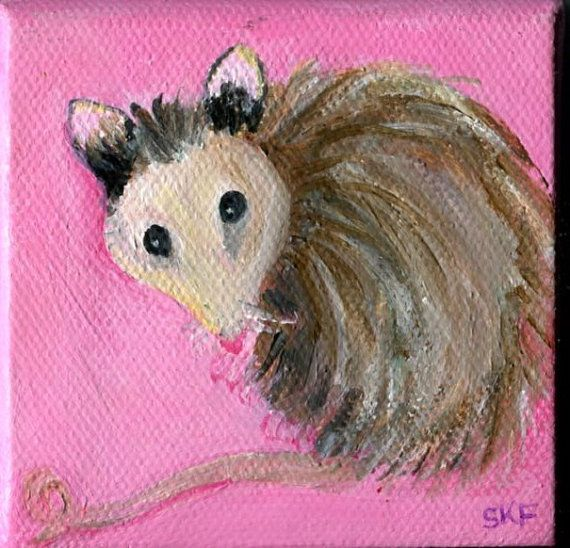 Opossum on pink on canvas with mini easel  by SharonFosterArt, $22.00