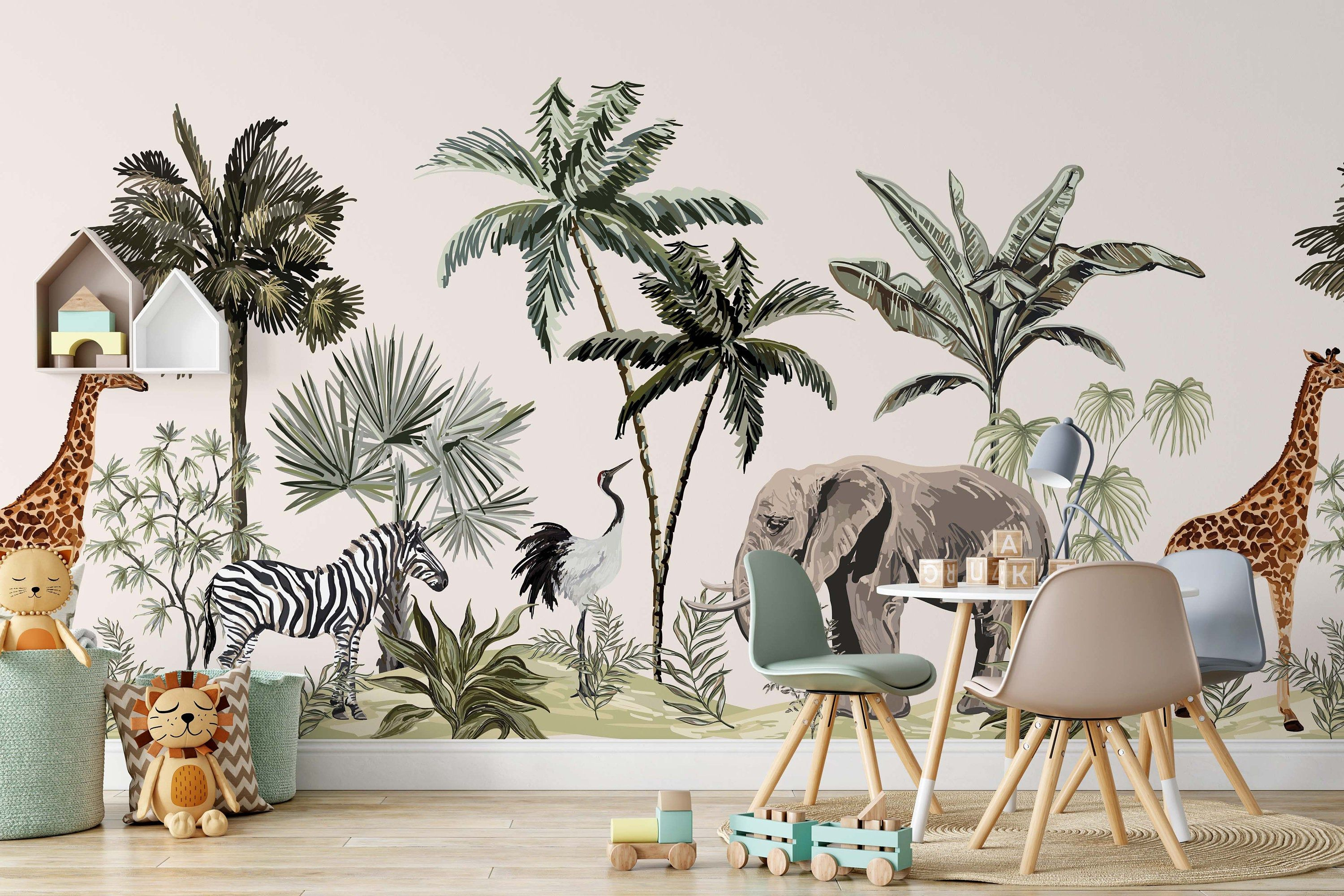 Tropical Jungle Botanical Plants Leaves African Animals Palm Etsy Trees Wallpaper Bedroom Palm Trees Wallpaper Kids Room Murals
