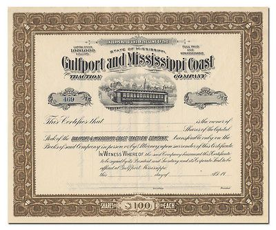 Gulfport and Mississippi Coast Traction Company Stock Certificate - http://coins.goshoppins.com/stocks-bonds-scripophily/gulfport-and-mississippi-coast-traction-company-stock-certificate/