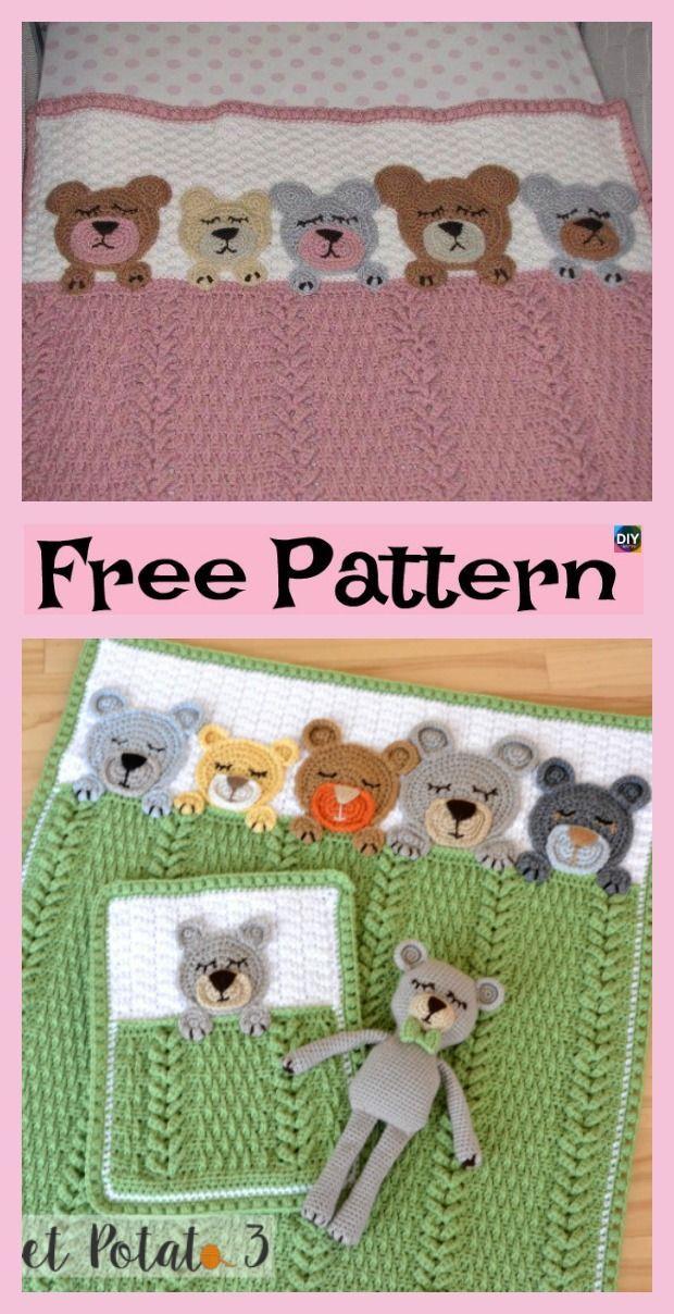 Häkeln Sie Schlaf Enge Teddybär Decke - Free Pattern #freecrochetpatterns #tedd ...  #crochetteddybearpattern