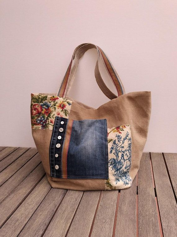 ddd79300590 Medium tote bag Fabric bag Jeans recycle bag Shoulder bag Middelgrote Tas, Handgemaakte  Stoffen Tassen