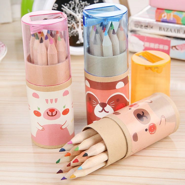 12Pcs//Set Colorful Wooden Painting Pencil With Sharpener Drawing Kids Stationary