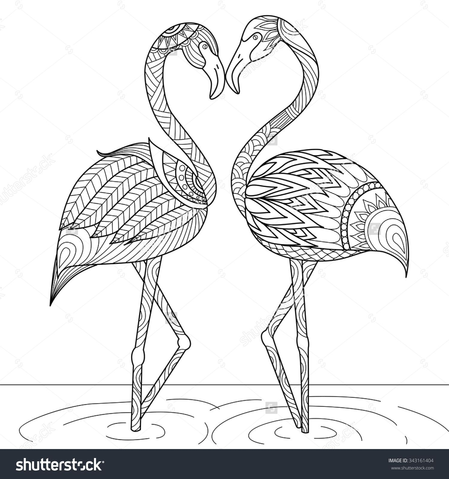 Colouring books for adults vancouver - Hand Drawn Flamingo Couple Zentangle Style For Coloring Book Invitation Card Logo Shirt