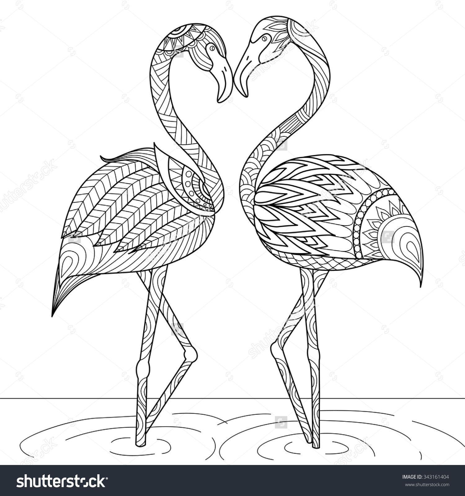 Hand Drawn Flamingo Couple Zentangle Style For Coloring Bookinvitation Cardlogoshirt Or Bag Design