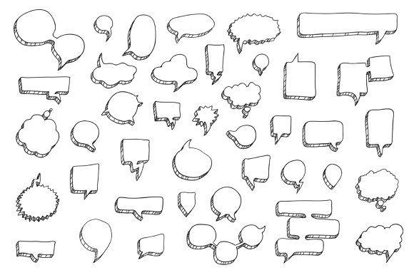 40 Hand Drawn Speech Bubbles , #Affiliate, #black#