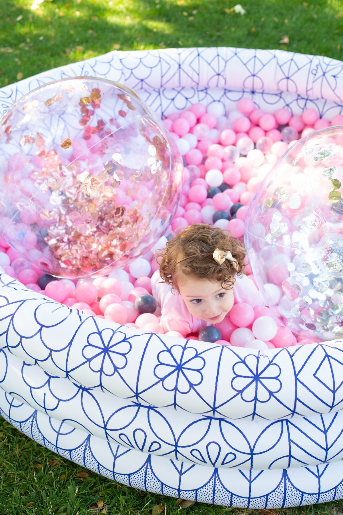 How To Make A Diy Ball Pit Tutorial From Lovely Indeed 1st Birthday Party For Girls Backyard Birthday Parties Birthday Party Activities