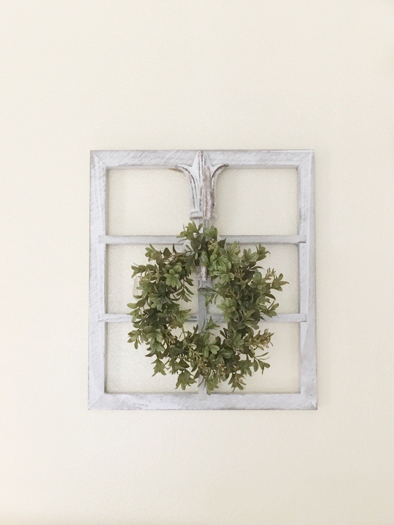 Window Frame Wall Decor Farmhouse French Country Cottage Fl Hanging Rustic With Wreath Wood