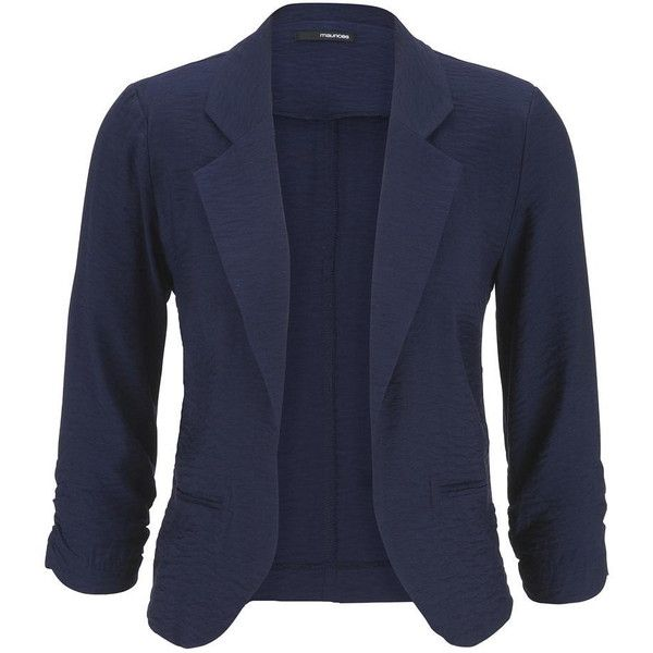 maurices Blue Jasmine Blazer With Textured Fabric ($39) ❤ liked on Polyvore featuring outerwear, jackets, blazers, blazer, tops, blue, blazer jacket, textured blazer, maurices and plus size blazers