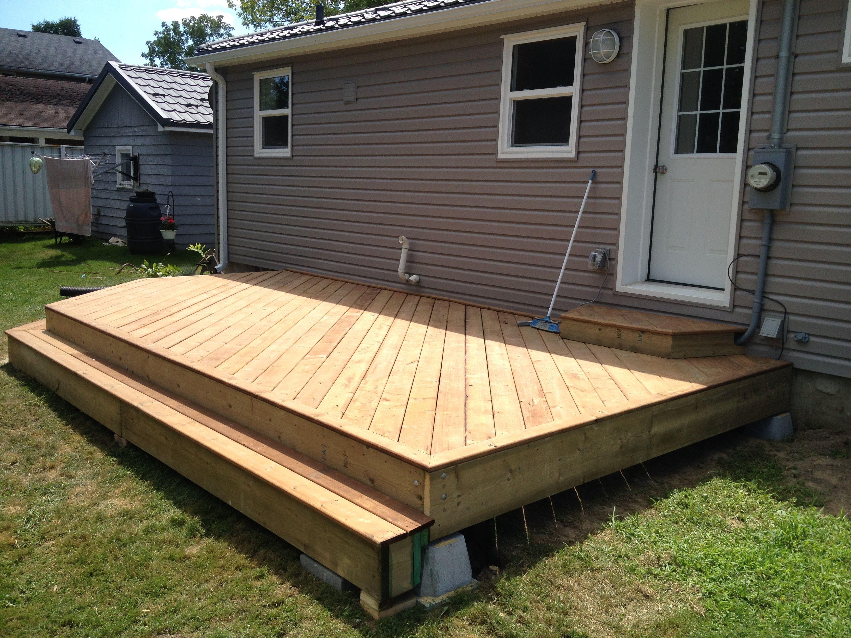 Angled 2 tier deck   Garden patio furniture, Deck designs ...