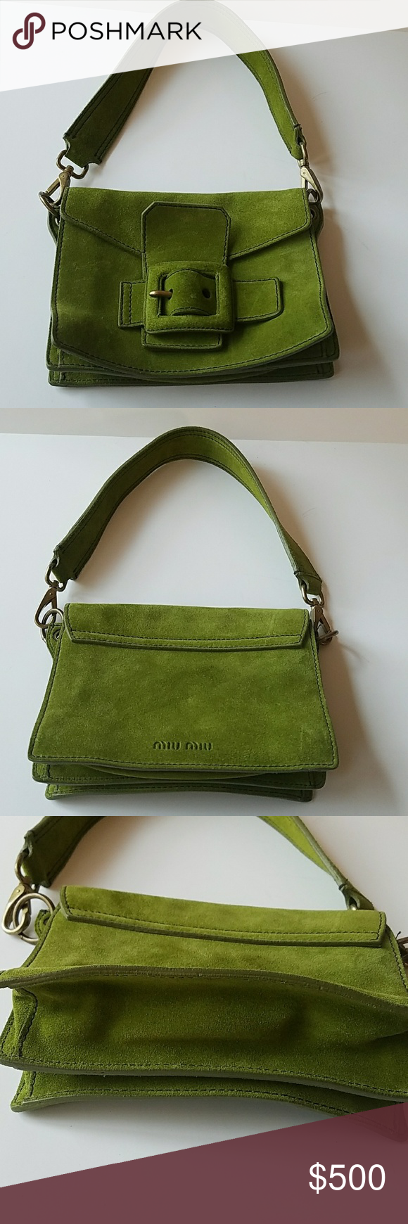 397dd8592c30 Miu Miu Olive Green Suede Bag Gorgeous made in Italy Runway fashion bag.  Olive green soft suede. Miu Miu Bags Shoulder Bags