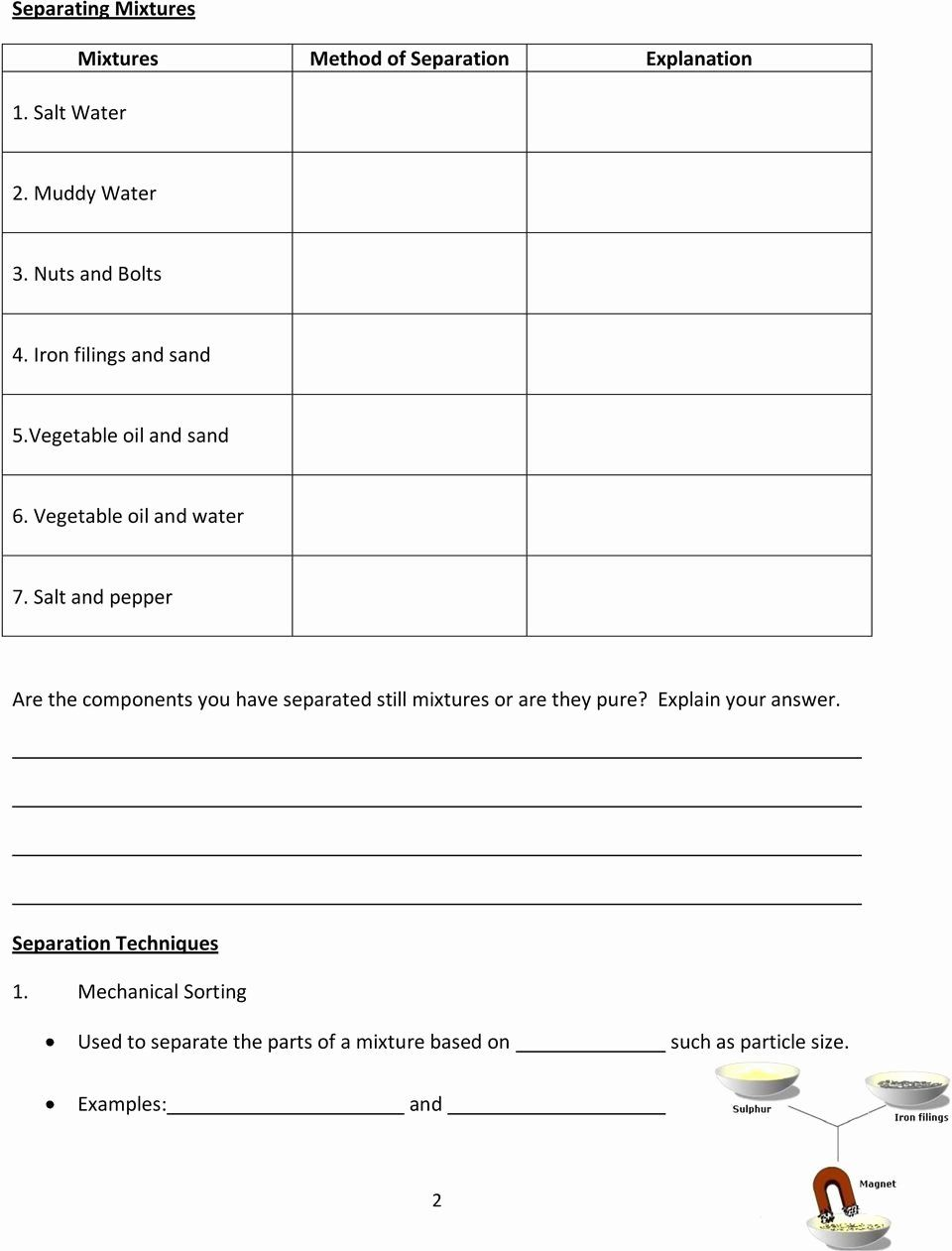 Mixtures and solutions Worksheet Answers New Grade 7