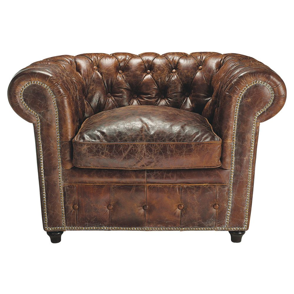 Fauteuil chesterfield cuir marron capitonn vintage for the home pinteres - Fauteuil club capitonne ...