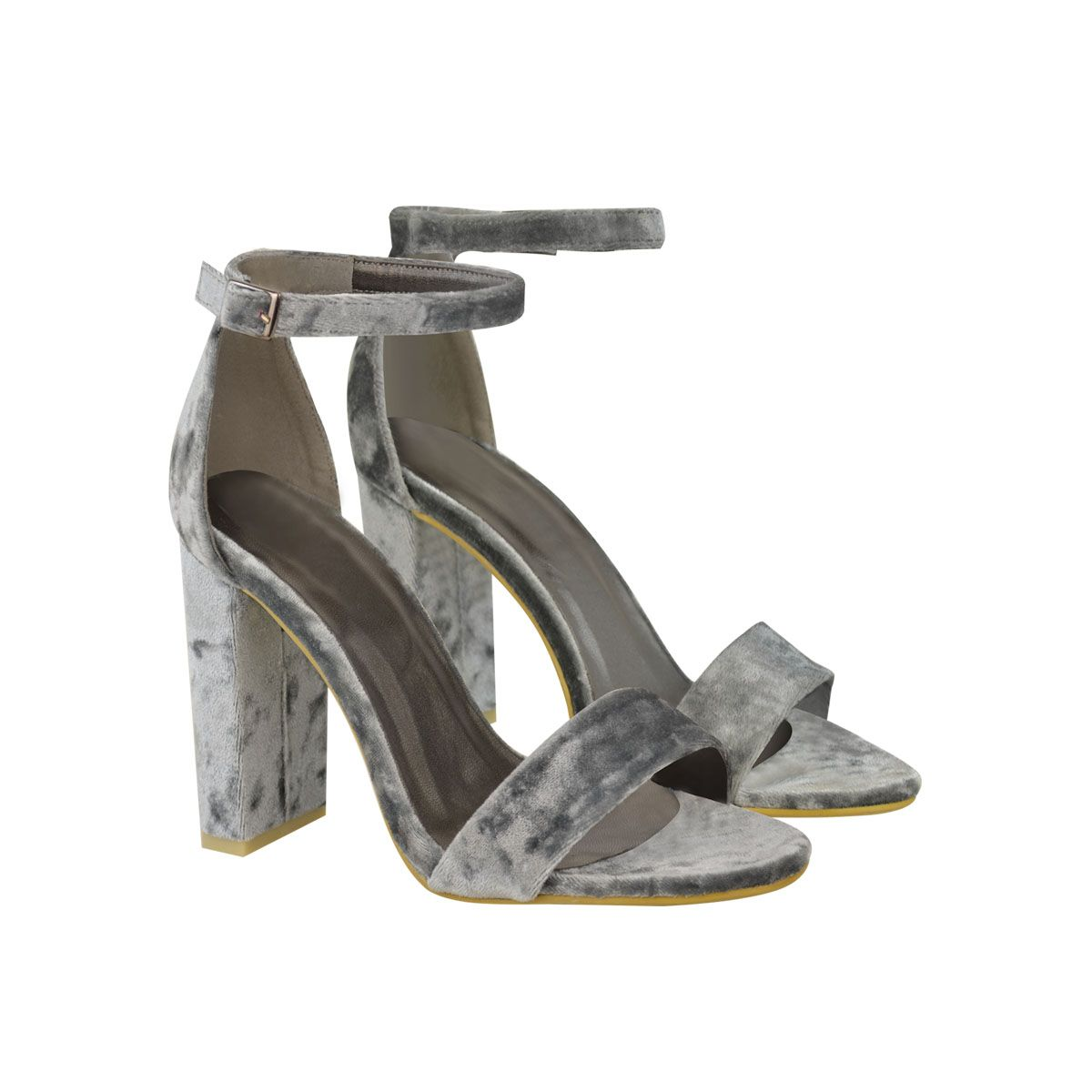 31c23c996a74 Grey Velvet Block High Heel Barely There Strappy Sandals - Yonce