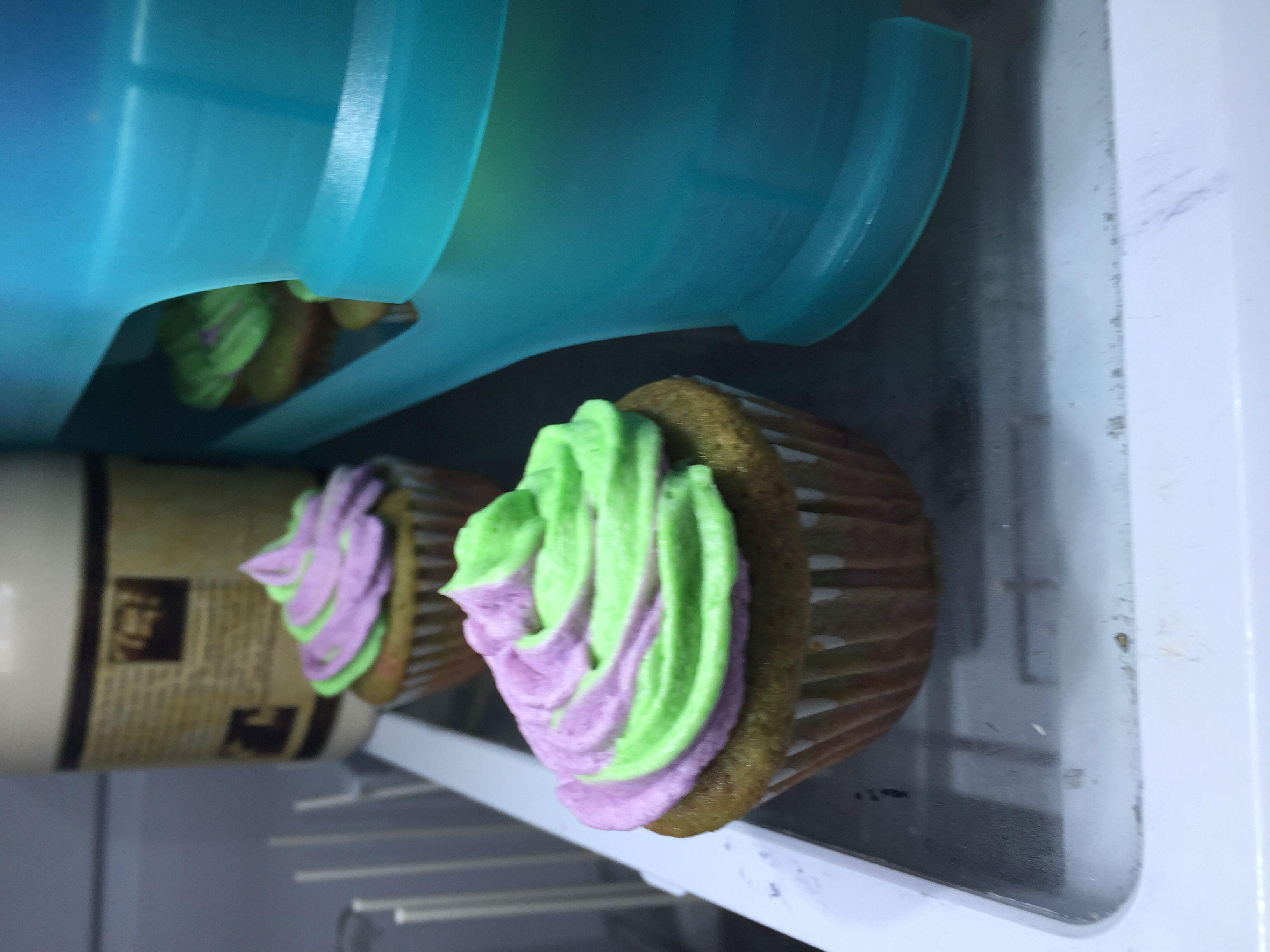 Purple and green swirled cupcakes