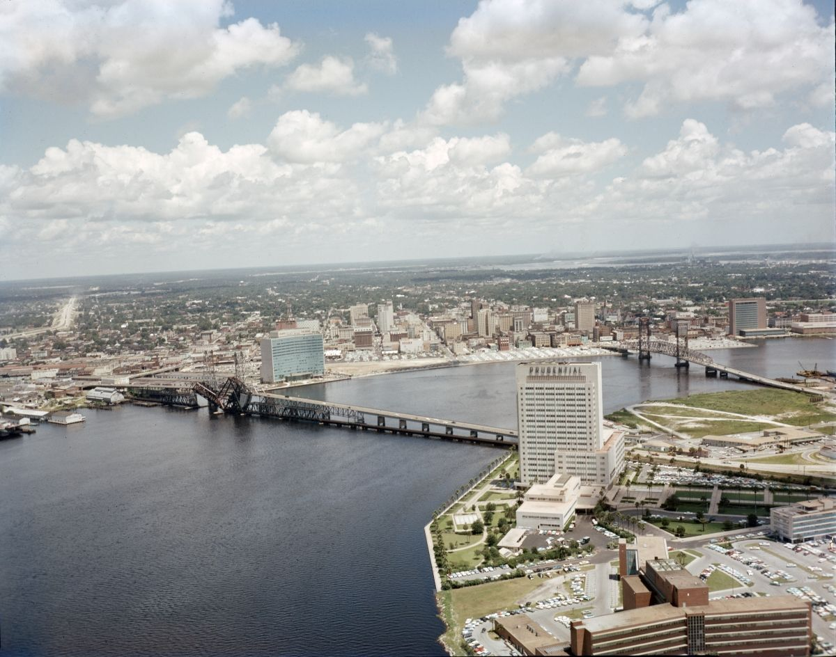 An Aerial View Looking Northeast Over The St Johns River Flowing