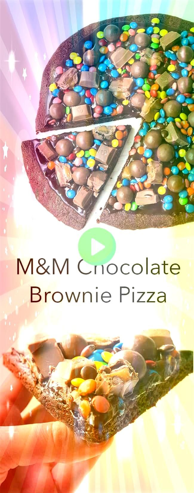 dessert pizza is AMAZING A thin and chewy brownie topped with chocolate ganache and lots of candy including MMs Maltesers and chocolate caramel Recipe from This dessert p...