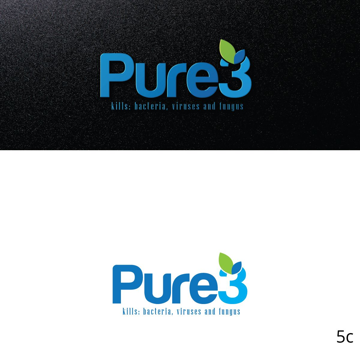 Pure3 Organic Sanitizing Cleaner Elegant, Playful Logo Design by Designanddevelopment