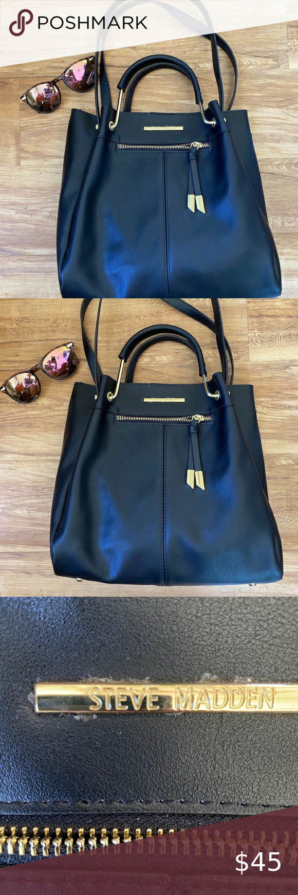 Steve Madden Black Handbag Purse With Makeup Bag Black Handbags Bags Handbag